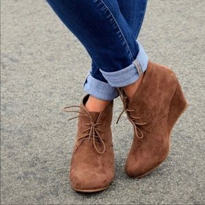 Shoes - Camel Lace Up Wedge Heel Booties
